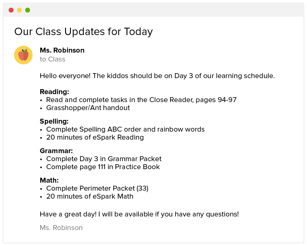 Distance Learning Email from a Teacher